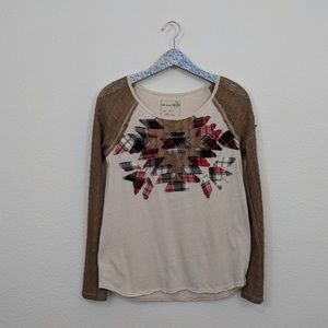 We the Free Tan Patchwork Crochet Long Sleeve Top